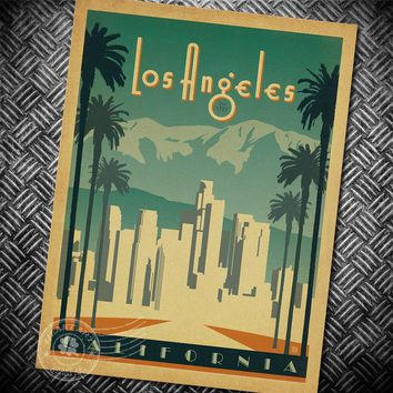 Los Angeles California Vintage poster character retro posters wall stickers wall art painting wallpaper cafe bar pub decoration