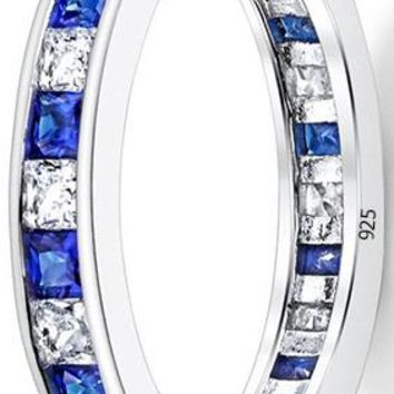 2 Carats Sterling Silver 925 Eternity Ring Engagement Wedding Band W/ Princess Cut Simulated Sapphire Cubic Zirconia CZ