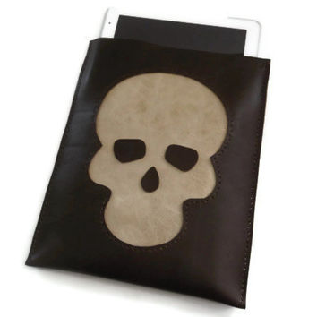 Leather iPad Sleeve- iPad Case- iPad Cover-iPad2- iPad3-iPad4- Brown Genuine Leather Sleeve Case with Skull- Hand Stitched