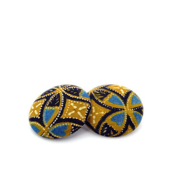 Renaissance Style African Fabric Earrings