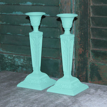 Ornate aqua painted silver-plated candlestick holders, painted candle holders, upcycled candle holders, gift idea, teal decor