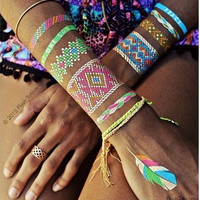 Waterproof Temporary Tattoo Sticker on body art metallic necklace tattoo gold Bracelets tatto flash tatoo fake tattoo