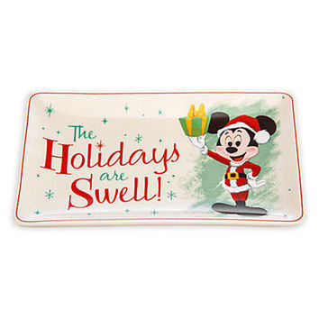 disney parks holiday christmas mickey mouse retro small ceramic tray new