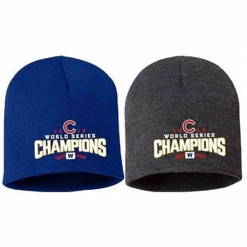 Chicago Cubs 2016 World Series Champions Knit Beanie Hat with Embroidered Logo Unisex Cap Hot