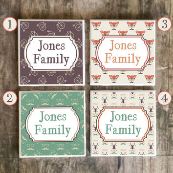 Drink Coasters, Personalized Family Name in Hipster Style, Ceramic Tiles, Housewarming Gift, Wedding, Choose Your Style and Send Us Name