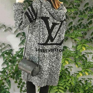 LV Hooded Sweater Knit Cardigan For Women Girl Jacket Coat Grey
