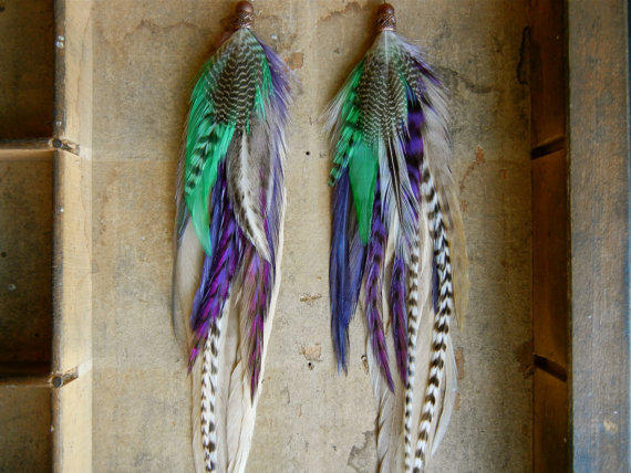 15% OFF the ENTIRE SHOP: Shaggadelic Purple & Teal  Extra Long Feather Earrings