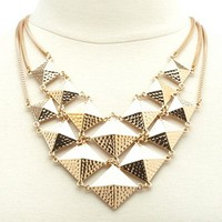 Textured Pyramid Square Bib Necklace