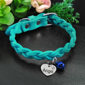 Soft Suede Leather Braided Collar with Personalized Heart Shape Tag and Bell