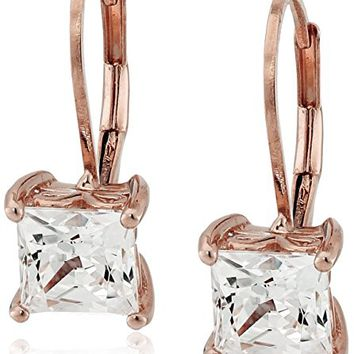 Platinum or Gold-Plated Sterling Silver Swarovski Zirconia Princess-Cut Leverback Earrings