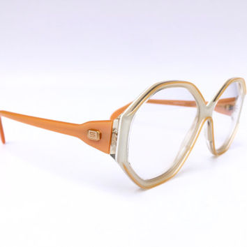 SILHOUETTE!!! Vintage 80s 'Silhouette' angled cream and apricot framed eye glasses with gold 'S' temple logo plate / Deadstock