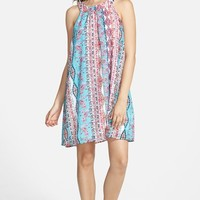Junior Women's Socialite High Neck Print Shift Dress,