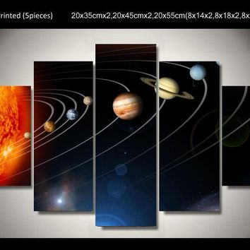 Solar system 5 piece picture  wall art canvas print