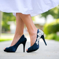 Navy Blue Wedding Shoes with Ivory Lace Applique. US Size 8