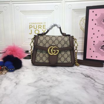 DCCK 1603 Gucci GG Marmont Fashion Mini Handbag 21-15.5-8cm Brown