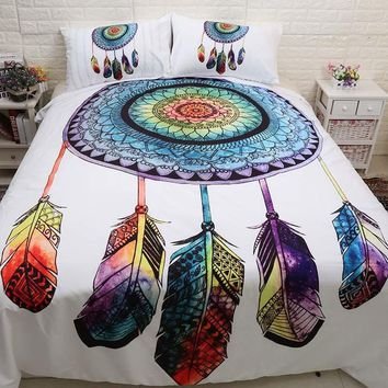 Cool 3pcs/lot Double Bed Sheets Boho Dreamcatcher Bed Mattresses Comforter Bedding Set Bohemian Duvet Cover Set Pillowcase Queen KingAT_93_12