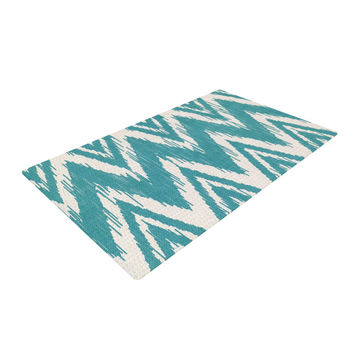 "Heidi Jennings ""Tribal Chevron Aqua"" Woven Area Rug"