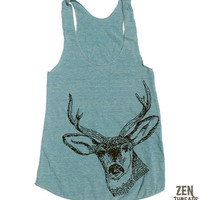 Womens Urban DEER american apparel Tri-Blend Racerback Tank Top S M L (8 Color Options)