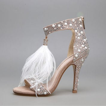 2017 Sexy Plus Size Summer Women High Heel Sandals Genunin Leather Rhinestone Feather Thin High Heel Women Wedding Shoes Pumps35