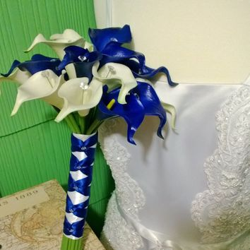 Real Touch Royal Blue White Calla Lily Wedding Bouquet
