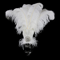 Showgirl Feather Headdress - with White Ostrich and Rooster Feather and ribbon