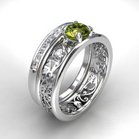 Peridot  and diamond filigree engagement ring set, white gold, green filigree, peridot solitaire, diamond band, vintage, unique set, green