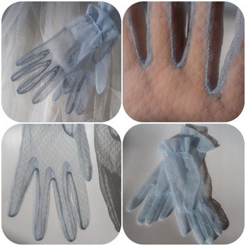 1930's Blue lace gloves // antique embellished gloves // free shipping