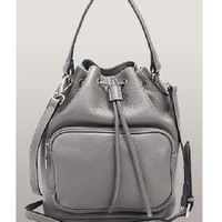 Melody Leather Bucket Bag Grey Drawstring Top