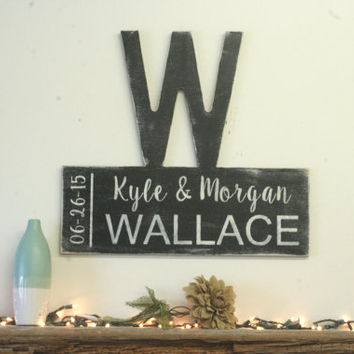 Personalized Name Sign Custom Name Sign Family Name Sign Wedding Gift Bridal Shower Housewarming Anniversary Gift Vintage Wood Photo Wall