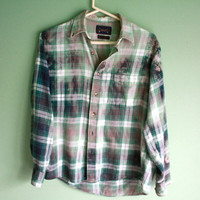 Bleached ombre flannel shirt
