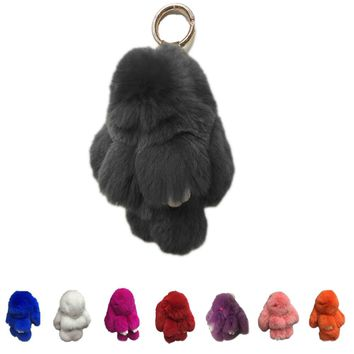 New Fashion Car Play Dead Rabbit Key Chain Fur Pom Pom Key chain Rex Rabbit Bag Car Hanging Pendant Jewelry