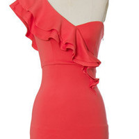 Juniors Clothing - Chloe Loves Charlie - Coral One Shoulder Dress - chloelovescharlie.com | $45.00