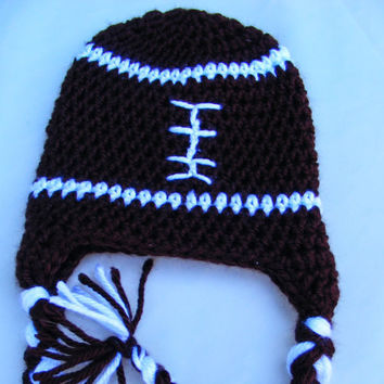 Football Fall Hat Crochet Baby hat with Earflaps 0-3 Month Newborn Photo Prop Halloween Super Bowl Autumn Winter Sports Nursery Theme