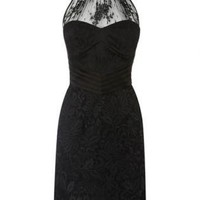 Black Cocktail Dress - Bqueen Halter Neck Lace Dress | UsTrendy