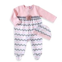 Sheryl Madison 2-Piece Chevron Long Sleeve Footed Coverall and Hat Set in Pink/Grey