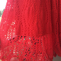 Crochet Long skirt, Orange shade skirt, Indian flowy skirt, boho skirt, handmade skirt, dance skirt, gypsy skirt, festival clothing