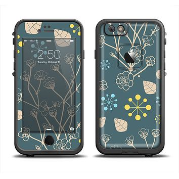 The Slate Blue and Coral Floral Sketched Lace Patterns v21 Skin Set for the Apple iPhone 6 LifeProof Fre Case