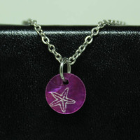 Minimalist Beach pendant Starfish jewelry Engraved purple dyed shell