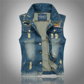 Trendy big size summer designer fashion brand Men's casual denim vest cotton slim popular Outerwear denim Coats jackets for men xxxl AT_94_13