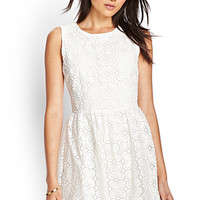 FOREVER 21 Embroidered Floral Fit & Flare Dress Cream