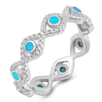 Eternity Band of Blue Bezel Evil Eye Lab Opals Set in Cubic Zirconia and Sterling Silver