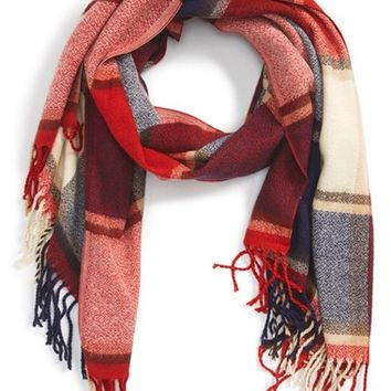 Girly Plaid Fringe Oblong Scarf | Nordstrom