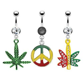 BodyJ4You Belly Button Ring Pot-Leaf Navel Bar Body Piercing Jewelry 3 Pieces