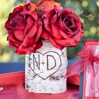 Personalized Heart And Arrow Birch Bark Wood Vase Candle Sleeve