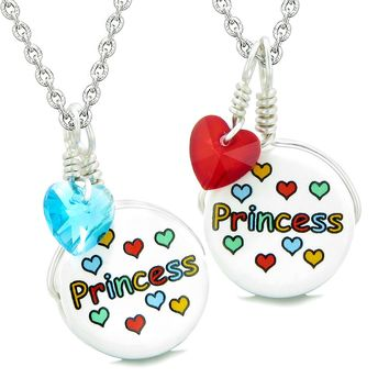 Love Couples or BFF Set Cute Ceramic Princess Lucky Charm Blue Red Hearts Amulet Pendant Necklaces