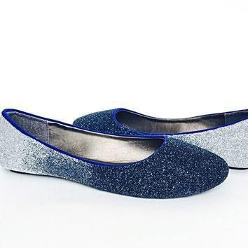 navy blue glitter flats silver ombre ballet shoes  number 1