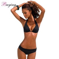 Sexy bathing suit women Halter Solid Padded Wireless Bathing Suit Swimwear Swimsuits Two Piece maillot de bain femme