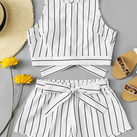 Vertical Striped Crop Top And Self Belt Shorts Set