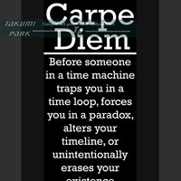 Sci Fi Art, Carpe Diem Wall Art Print, Inspirational Quote, Funny Art, Geek Art, Motivational Print, Time Travel, Nerd Art Decor, Geekery