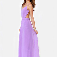 V-neck Spaghetti Strap Backless A-line Maxi Chiffon Dress